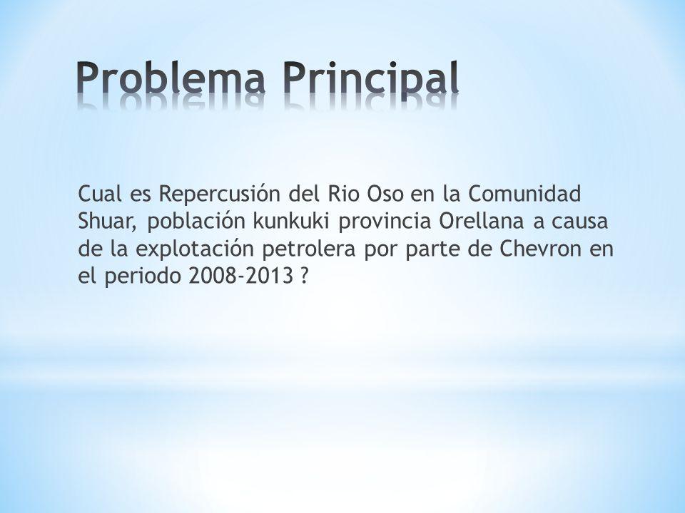 Cual es Repercusión del Rio Oso en la Comunidad Shuar, población kunkuki provincia Orellana a causa de la explotación petrolera por parte de Chevron en el periodo 2008-2013