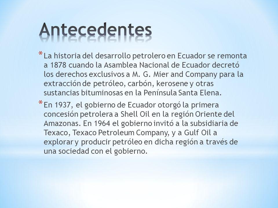 * La historia del desarrollo petrolero en Ecuador se remonta a 1878 cuando la Asamblea Nacional de Ecuador decretó los derechos exclusivos a M.