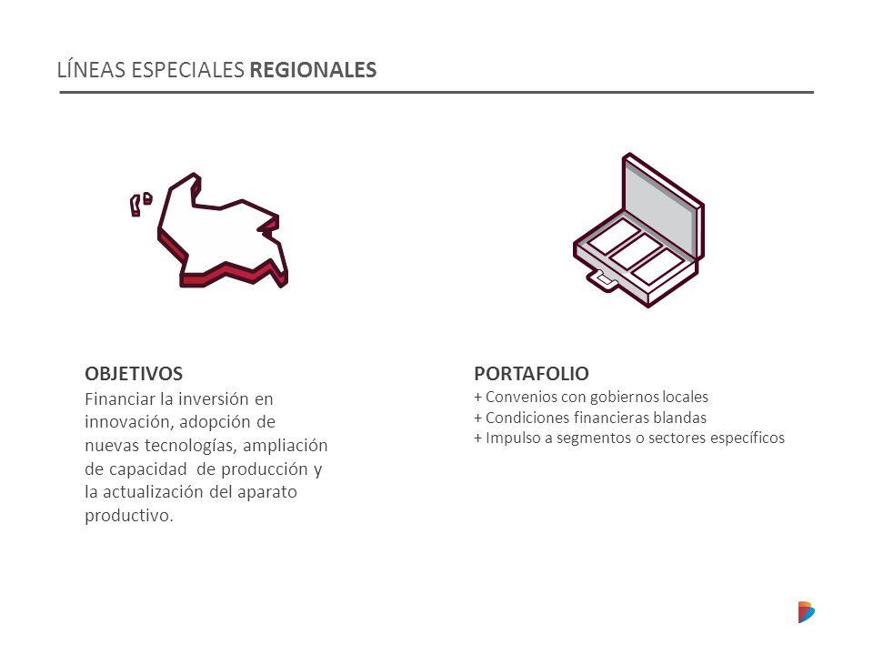 LÍNEAS ESPECIALES REGIONALES OBJETIVOS Financiar la inversión en innovación, adopción de nuevas tecnologías, ampliación de capacidad de producción y la actualización del aparato productivo.