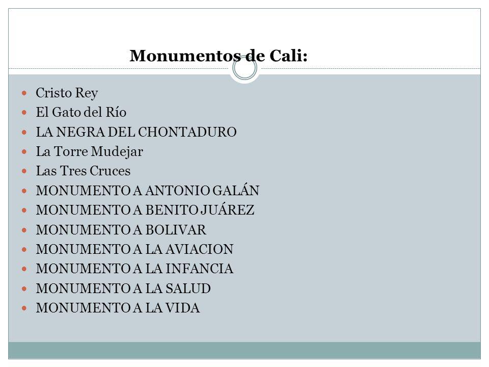 Monumentos de Cali: Cristo Rey El Gato del Río LA NEGRA DEL CHONTADURO La Torre Mudejar Las Tres Cruces MONUMENTO A ANTONIO GALÁN MONUMENTO A BENITO J