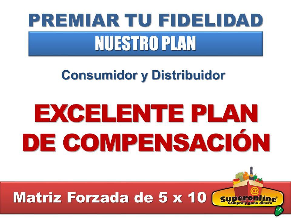 PREMIAR TU FIDELIDAD NUESTRO PLAN Consumidor y Distribuidor EXCELENTE PLAN DE COMPENSACIÓN Matriz Forzada de 5 x 10 Matriz Forzada de 5 x 10