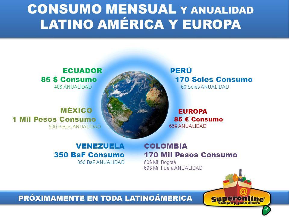 EUROPA 85 Consumo 65 ANUALIDAD COLOMBIA 170 Mil Pesos Consumo 60$ Mil Bogotá 69$ Mil Fuera ANUALIDAD MÉXICO 1 Mil Pesos Consumo 500 Pesos ANUALIDAD VE