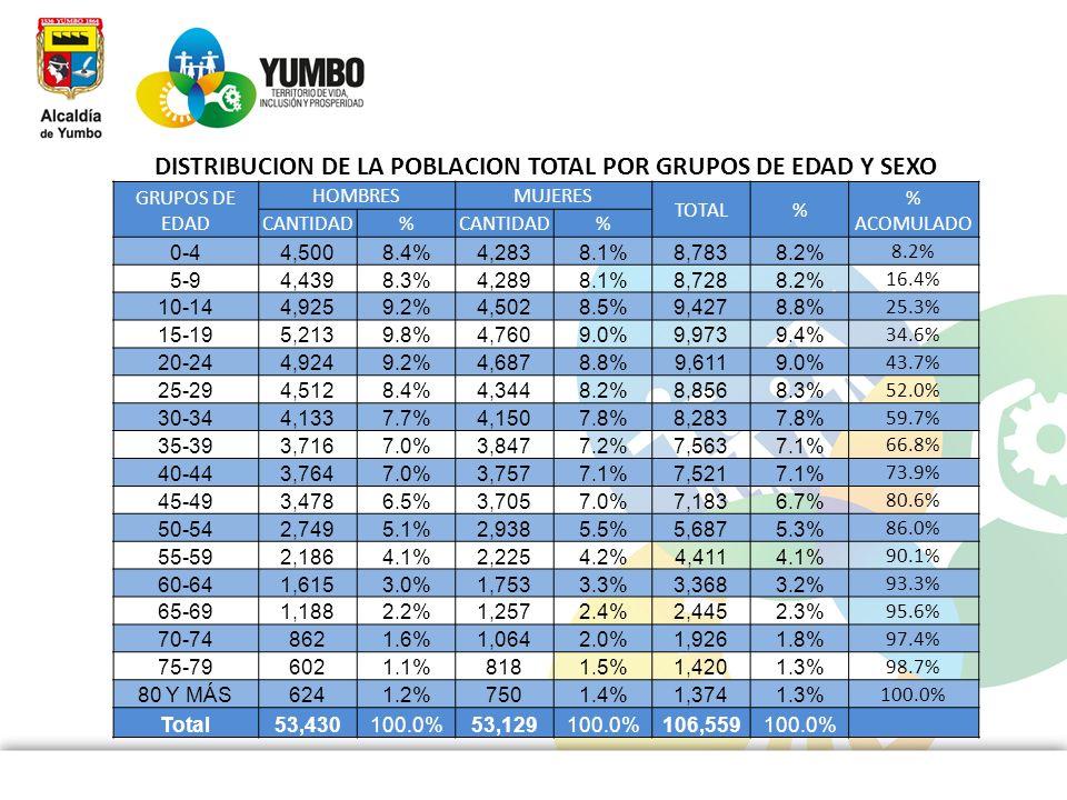 DISTRIBUCION DE LA POBLACION TOTAL POR GRUPOS DE EDAD Y SEXO GRUPOS DE EDAD HOMBRESMUJERES TOTAL% % ACOMULADO CANTIDAD% % 0-44,5008.4%4,2838.1%8,7838.
