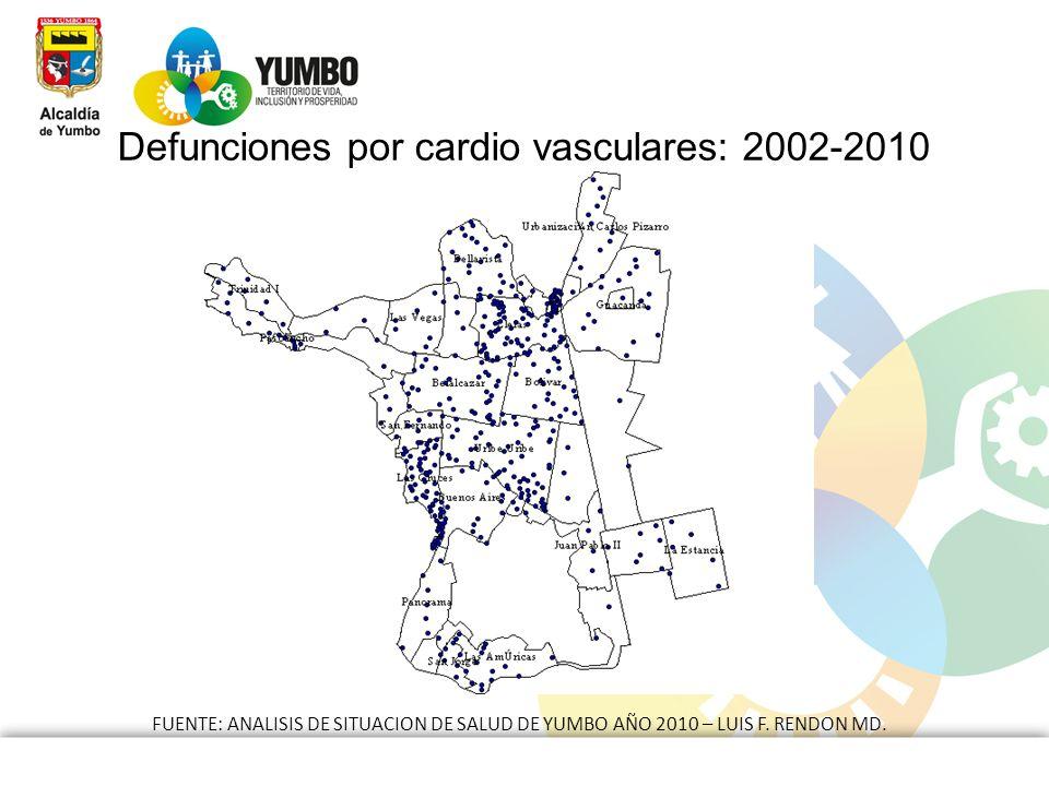 Defunciones por cardio vasculares: 2002-2010 FUENTE: ANALISIS DE SITUACION DE SALUD DE YUMBO AÑO 2010 – LUIS F. RENDON MD.