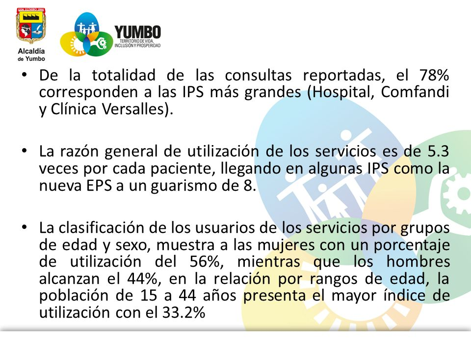 De la totalidad de las consultas reportadas, el 78% corresponden a las IPS más grandes (Hospital, Comfandi y Clínica Versalles). La razón general de u
