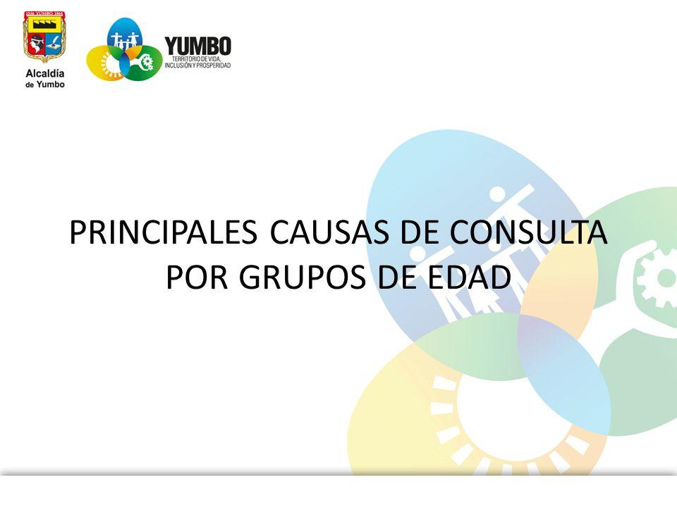 PRINCIPALES CAUSAS DE CONSULTA POR GRUPOS DE EDAD