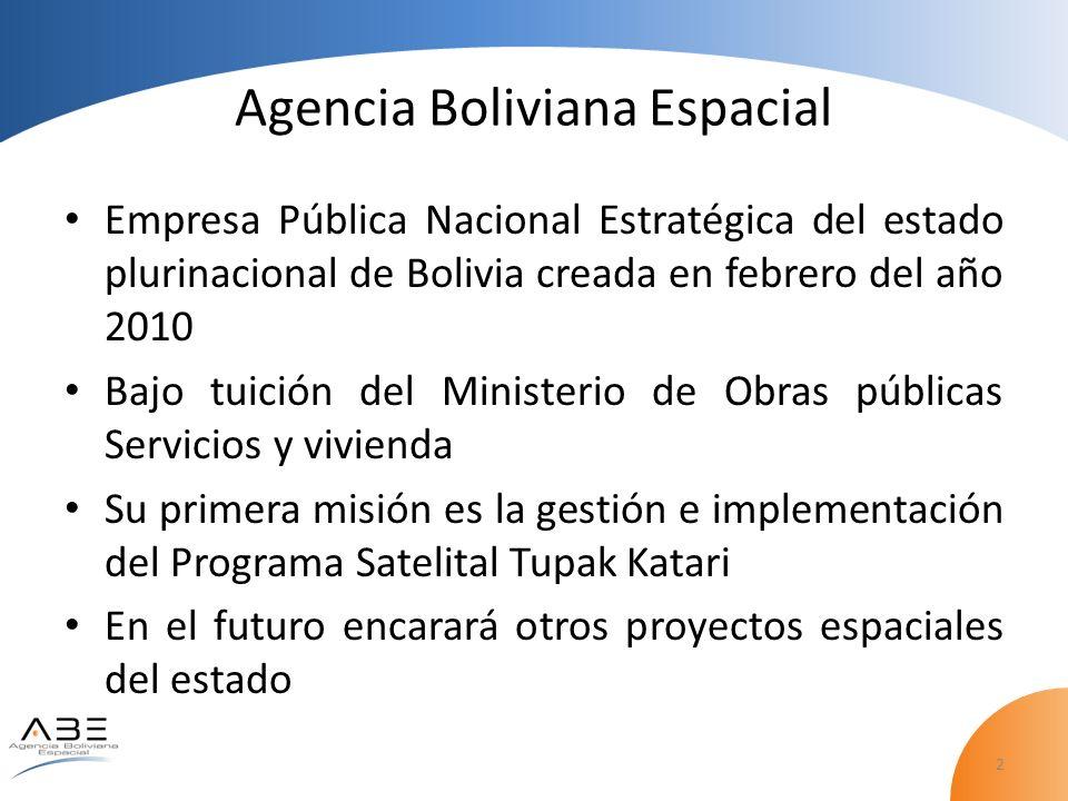 2 Agencia Boliviana Espacial Empresa Pública Nacional Estratégica del estado plurinacional de Bolivia creada en febrero del año 2010 Bajo tuición del Ministerio de Obras públicas Servicios y vivienda Su primera misión es la gestión e implementación del Programa Satelital Tupak Katari En el futuro encarará otros proyectos espaciales del estado