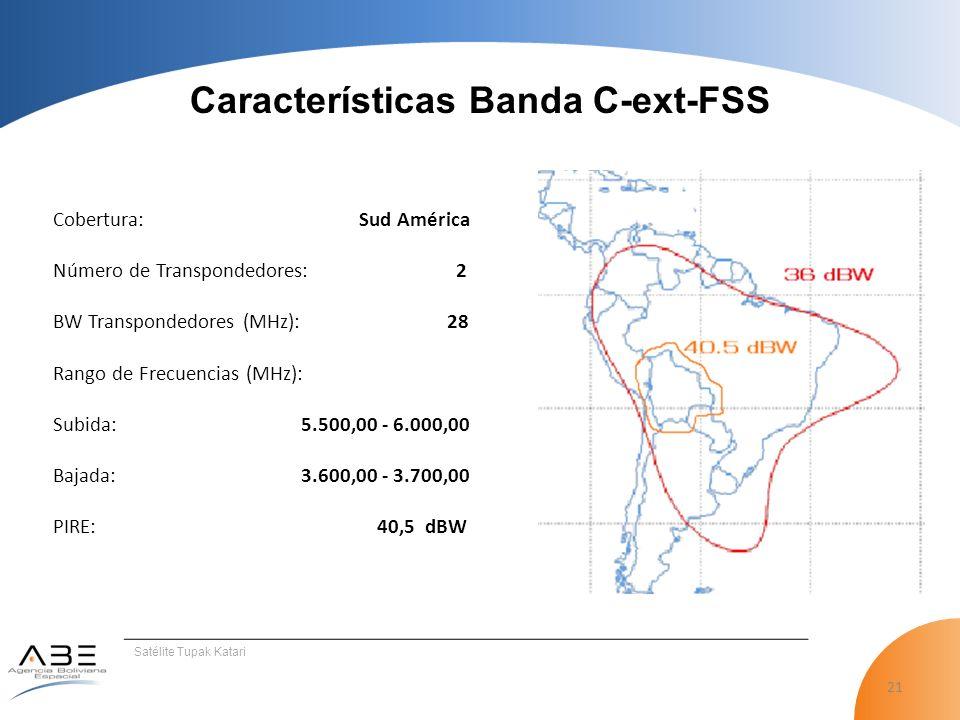 21 Satélite Tupak Katari Cobertura: Sud América Número de Transpondedores: 2 BW Transpondedores (MHz): 28 Rango de Frecuencias (MHz): Subida: 5.500,00 - 6.000,00 Bajada: 3.600,00 - 3.700,00 PIRE: 40,5 dBW Características Banda C-ext-FSS
