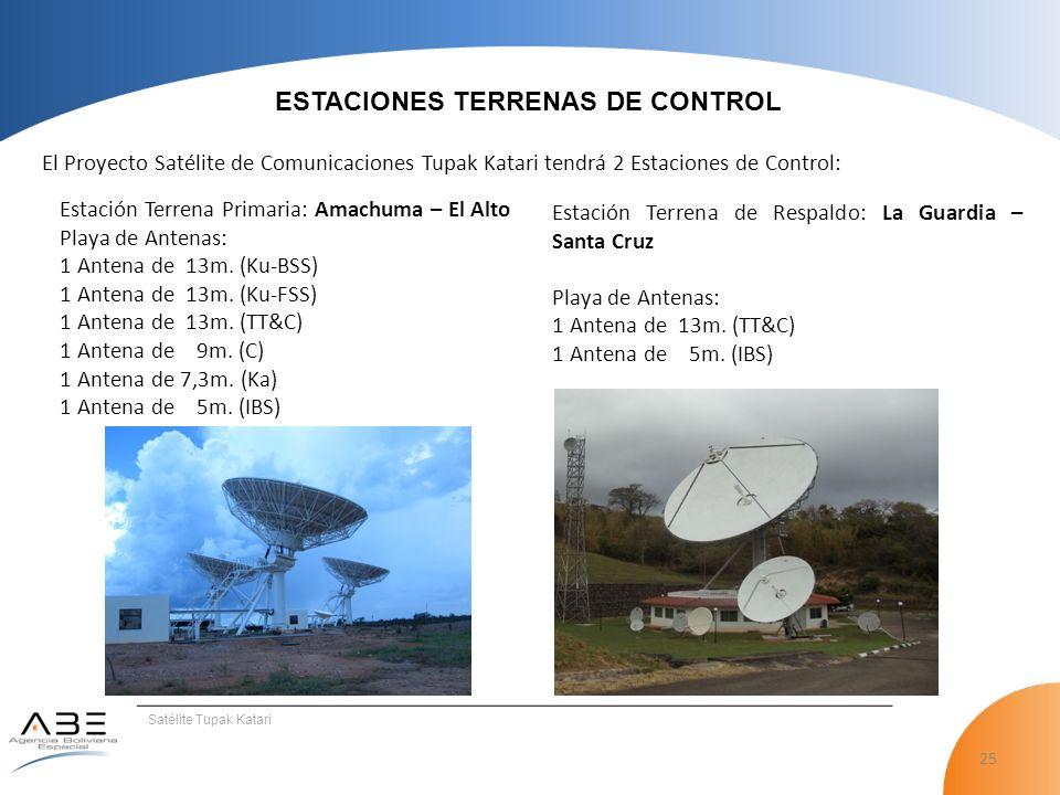 25 Satélite Tupak Katari ESTACIONES TERRENAS DE CONTROL El Proyecto Satélite de Comunicaciones Tupak Katari tendrá 2 Estaciones de Control: Estación Terrena Primaria: Amachuma – El Alto Playa de Antenas: 1 Antena de 13m.