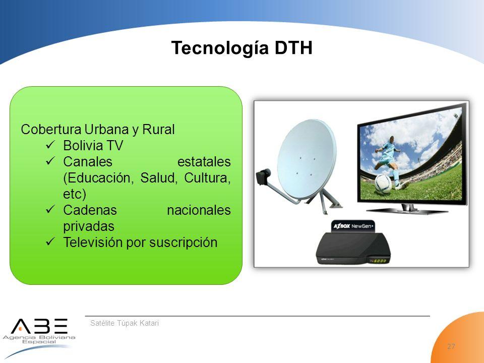 27 Satélite Túpak Katari Tecnología DTH Cobertura Urbana y Rural Bolivia TV Canales estatales (Educación, Salud, Cultura, etc) Cadenas nacionales privadas Televisión por suscripción