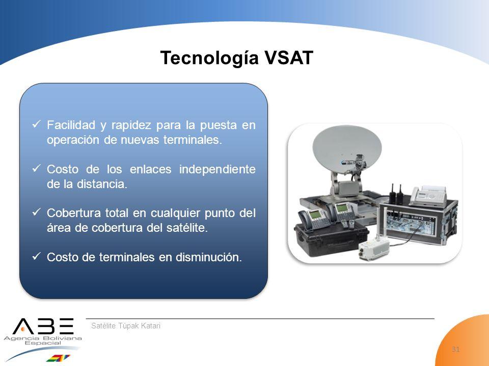 31 Tecnología VSAT Satélite Túpak Katari Facilidad y rapidez para la puesta en operación de nuevas terminales.