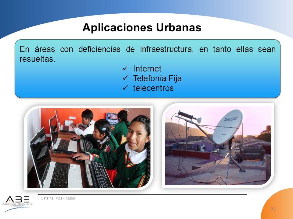 32 Satélite Tupak Katari Aplicaciones Urbanas En áreas con deficiencias de infraestructura, en tanto ellas sean resueltas.