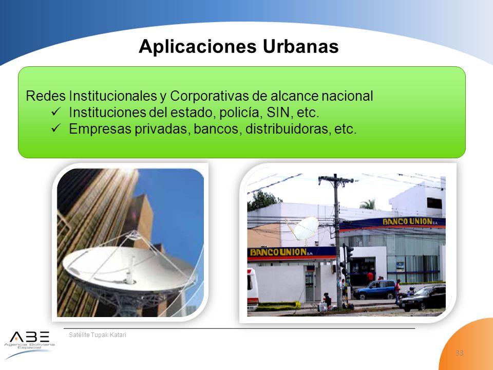 33 Satélite Tupak Katari Aplicaciones Urbanas Redes Institucionales y Corporativas de alcance nacional Instituciones del estado, policía, SIN, etc.