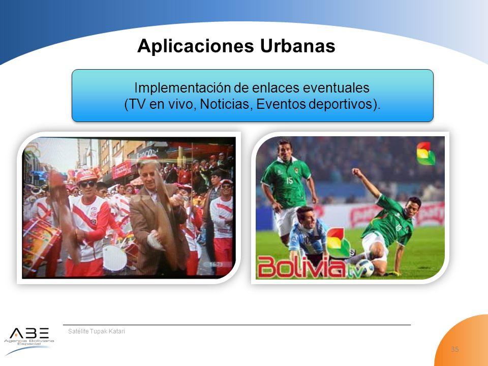 35 Satélite Tupak Katari Aplicaciones Urbanas Implementación de enlaces eventuales (TV en vivo, Noticias, Eventos deportivos).