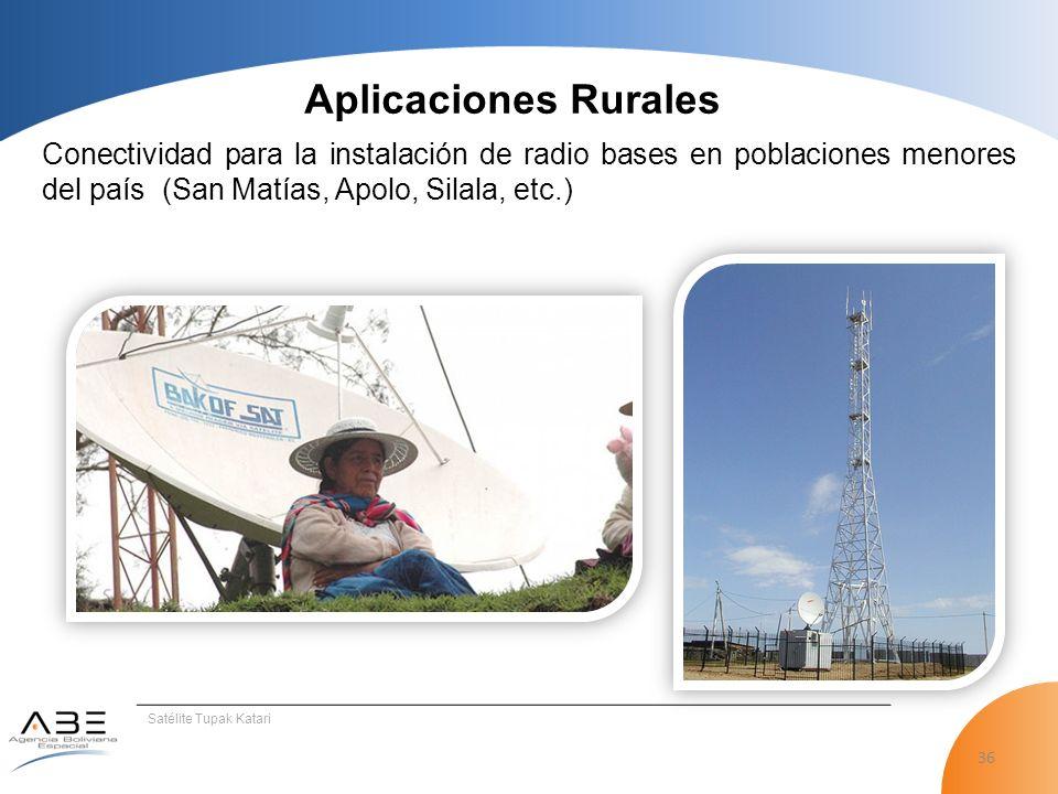 36 Satélite Tupak Katari Conectividad para la instalación de radio bases en poblaciones menores del país (San Matías, Apolo, Silala, etc.) Aplicaciones Rurales