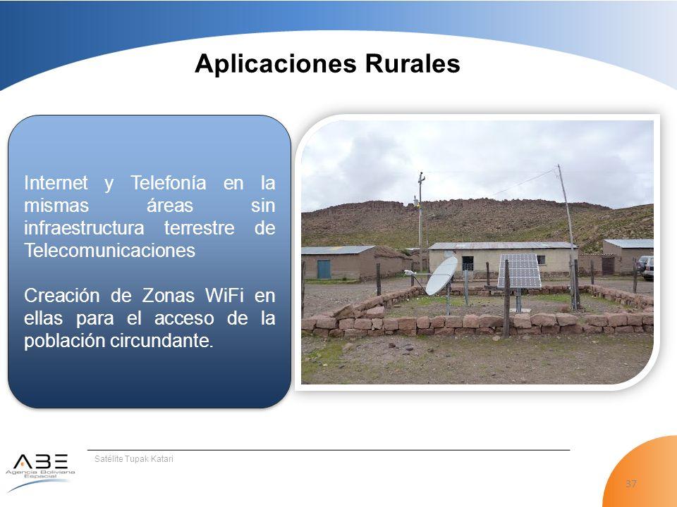 37 Satélite Tupak Katari Aplicaciones Rurales Internet y Telefonía en la mismas áreas sin infraestructura terrestre de Telecomunicaciones Creación de Zonas WiFi en ellas para el acceso de la población circundante.