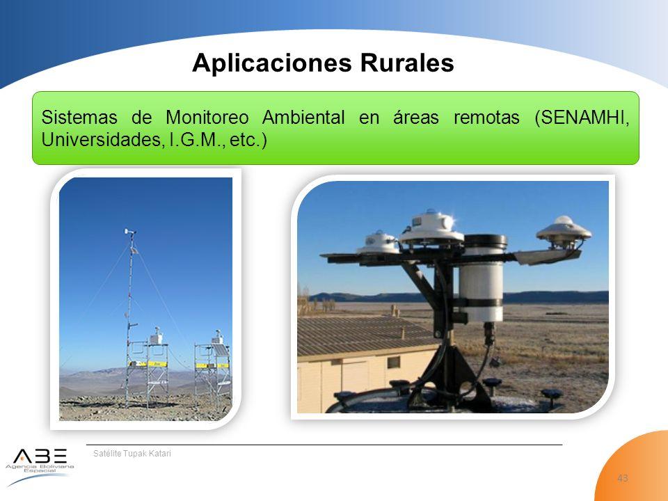 43 Satélite Tupak Katari Aplicaciones Rurales Sistemas de Monitoreo Ambiental en áreas remotas (SENAMHI, Universidades, I.G.M., etc.)