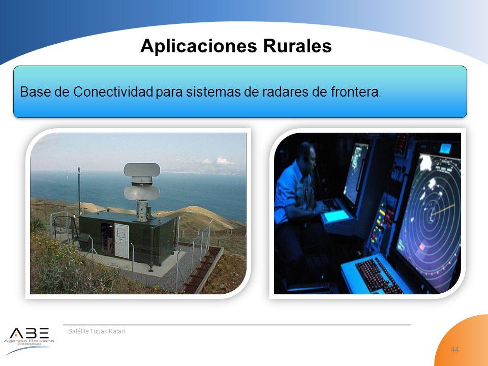 44 Satélite Tupak Katari Aplicaciones Rurales Base de Conectividad para sistemas de radares de frontera.