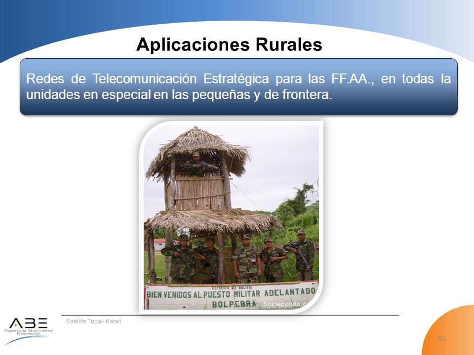 45 Satélite Tupak Katari Aplicaciones Rurales Redes de Telecomunicación Estratégica para las FF.AA., en todas la unidades en especial en las pequeñas y de frontera.