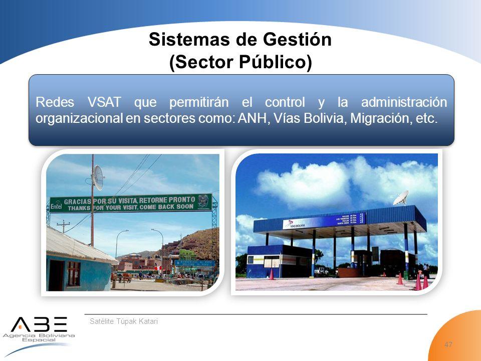 47 Satélite Túpak Katari Sistemas de Gestión (Sector Público) Redes VSAT que permitirán el control y la administración organizacional en sectores como: ANH, Vías Bolivia, Migración, etc.