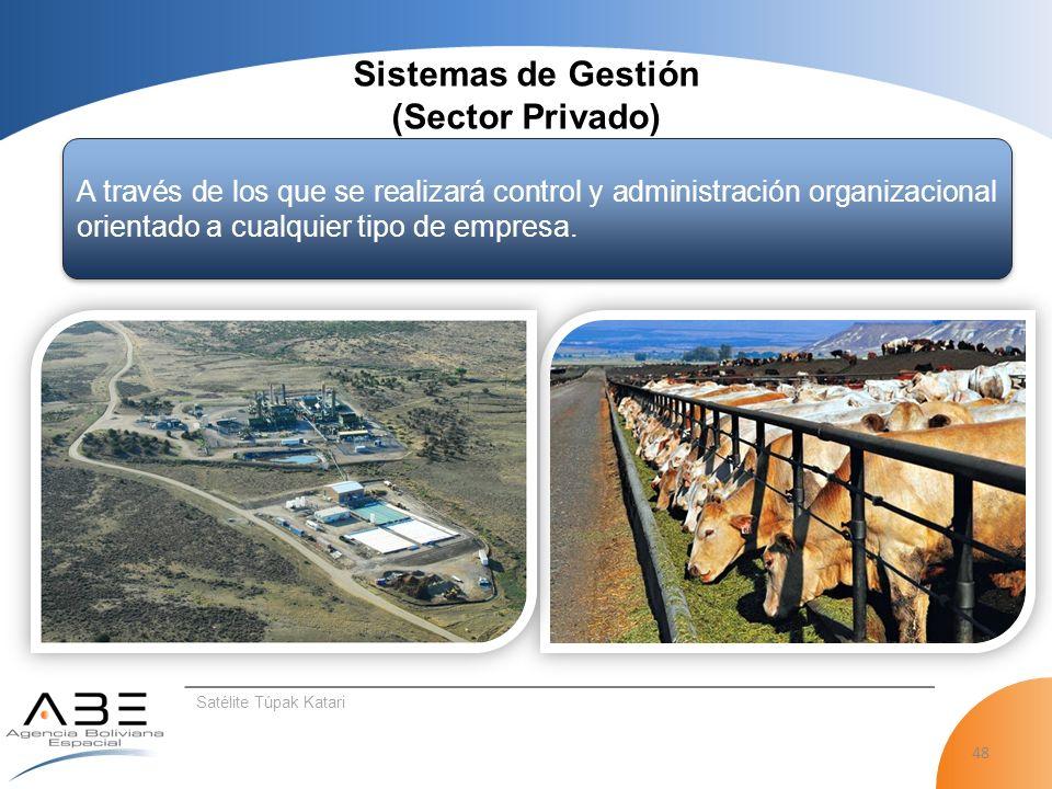 48 Satélite Túpak Katari Sistemas de Gestión (Sector Privado) A través de los que se realizará control y administración organizacional orientado a cualquier tipo de empresa.
