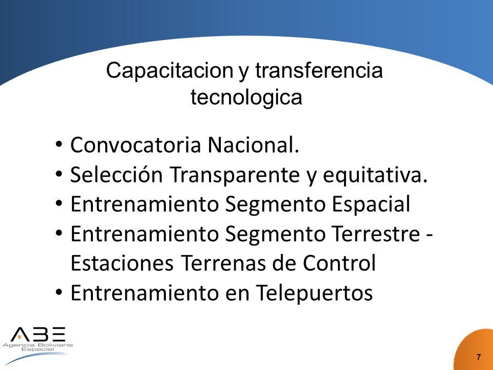 Capacitacion y transferencia tecnologica Convocatoria Nacional.
