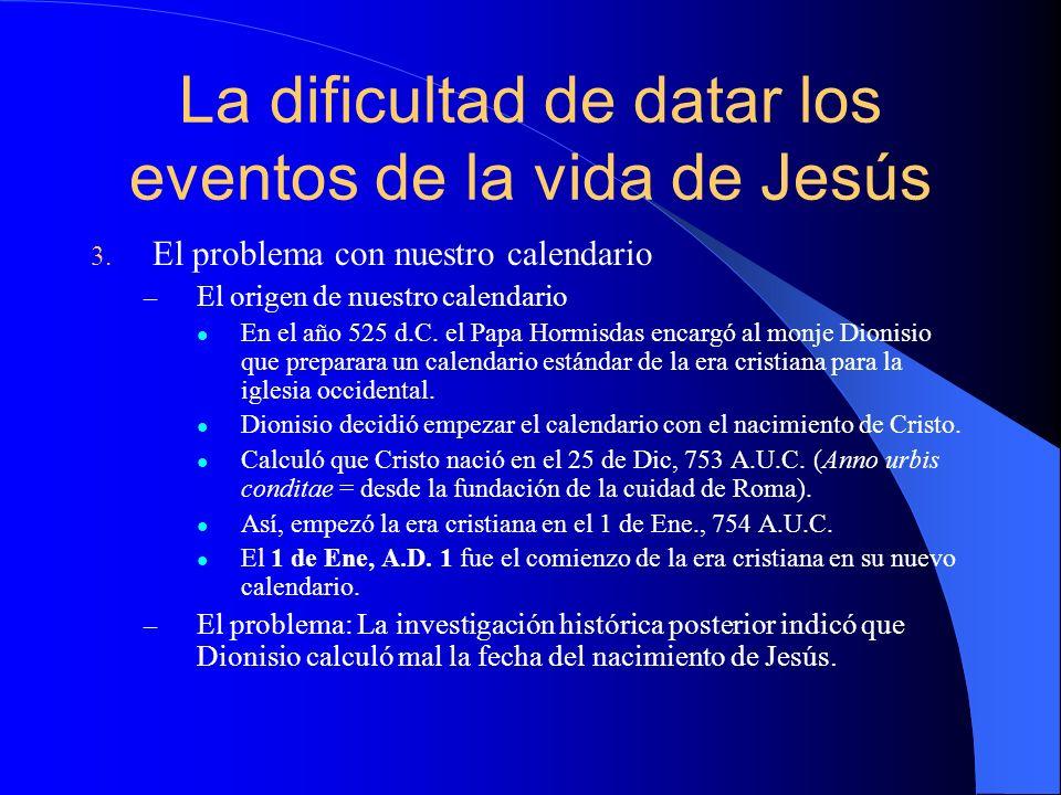 El año de su nacimiento Puntos de referencia en los evangelios.
