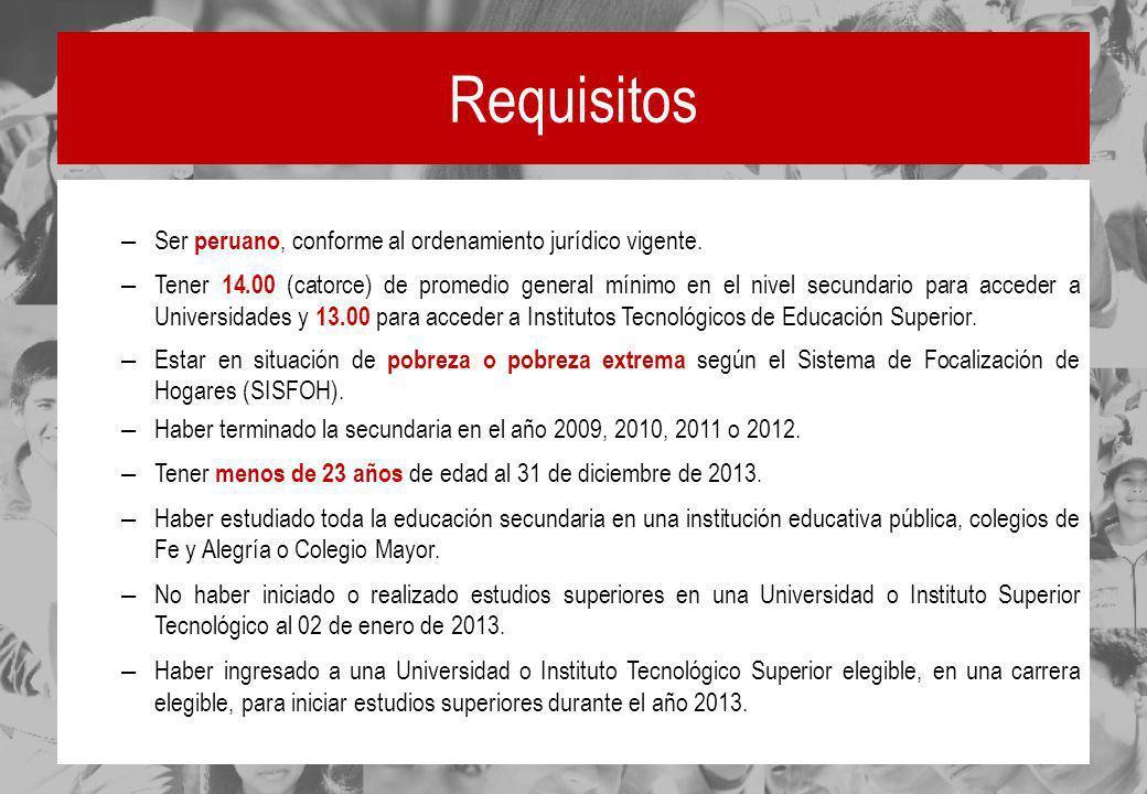 Requisitos – Ser peruano, conforme al ordenamiento jurídico vigente. – Tener 14.00 (catorce) de promedio general mínimo en el nivel secundario para ac