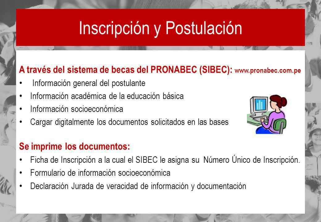 Inscripción y Postulación A través del sistema de becas del PRONABEC (SIBEC): www.pronabec.com.pe Información general del postulante Información acadé