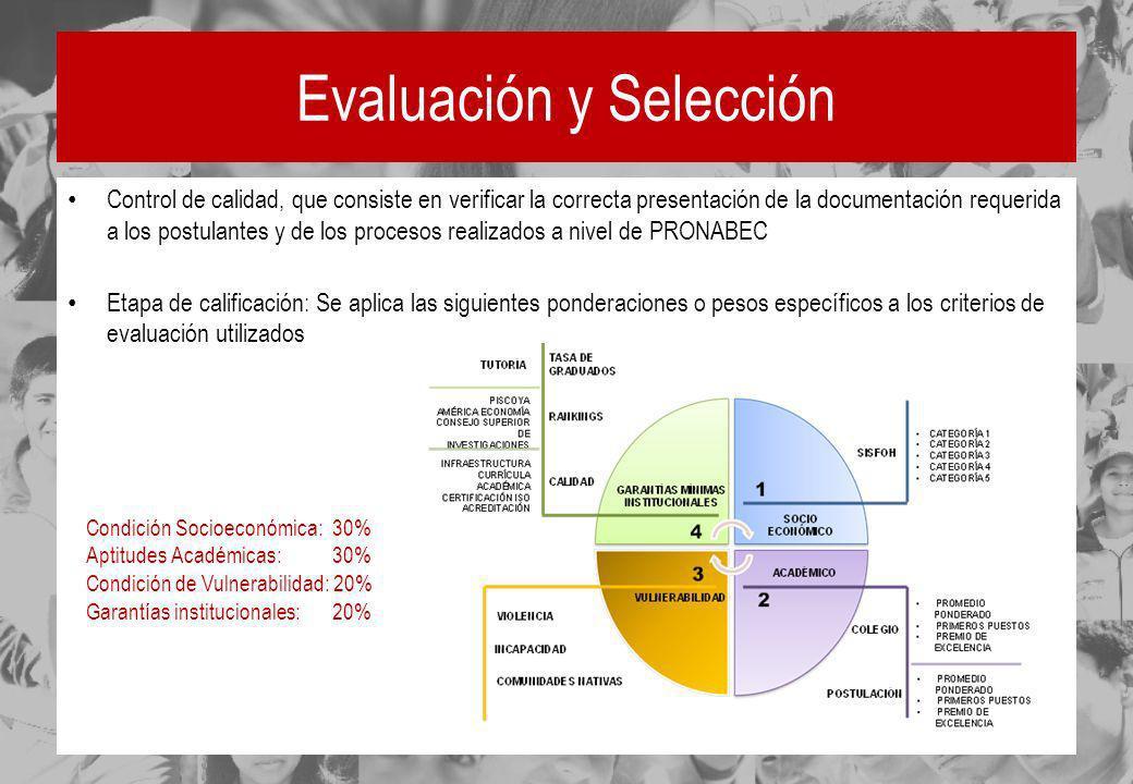 Evaluación y Selección Control de calidad, que consiste en verificar la correcta presentación de la documentación requerida a los postulantes y de los