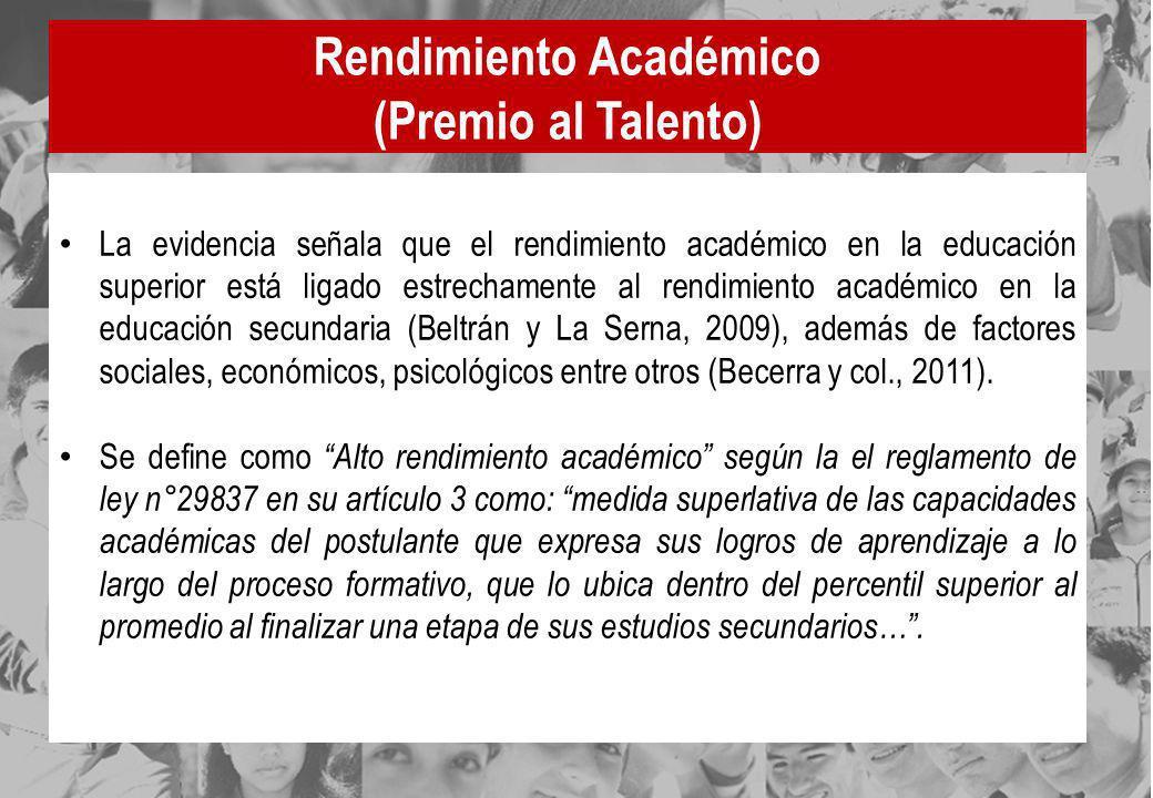Rendimiento Académico (Premio al Talento) La evidencia señala que el rendimiento académico en la educación superior está ligado estrechamente al rendi