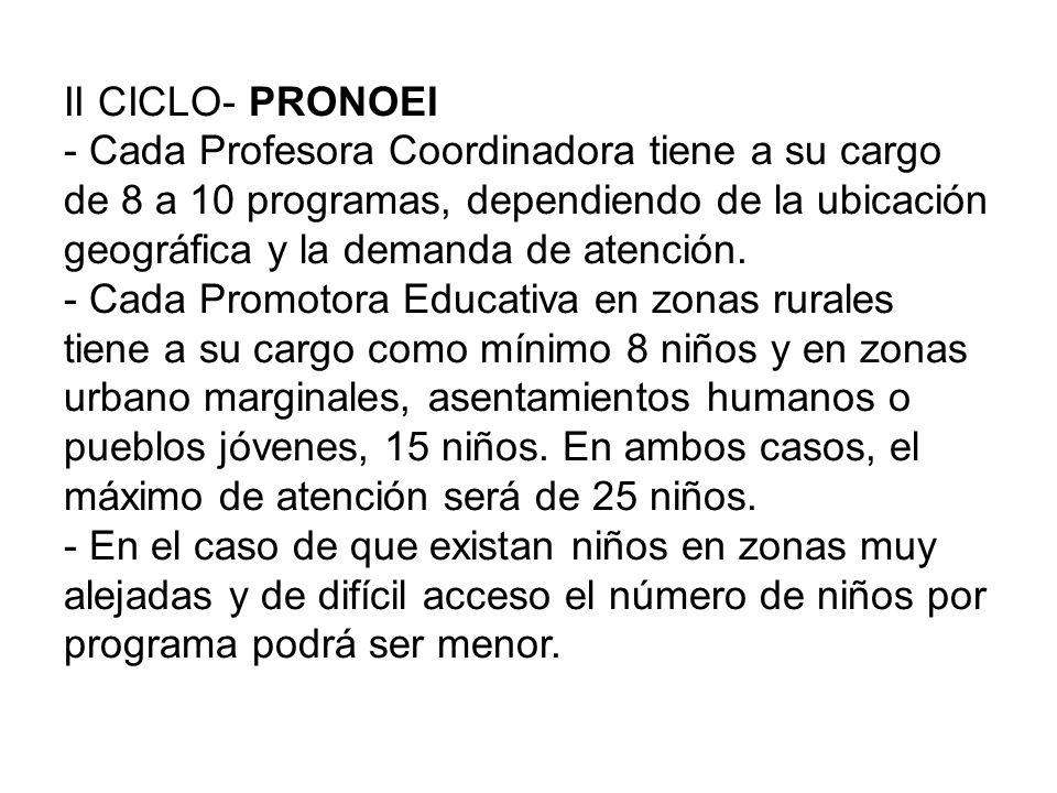II CICLO- PRONOEI Servicio educativo que atiende a niños de 3 a 5 años de edad de zonas rurales, asentamientos humanos o pueblos jóvenes.