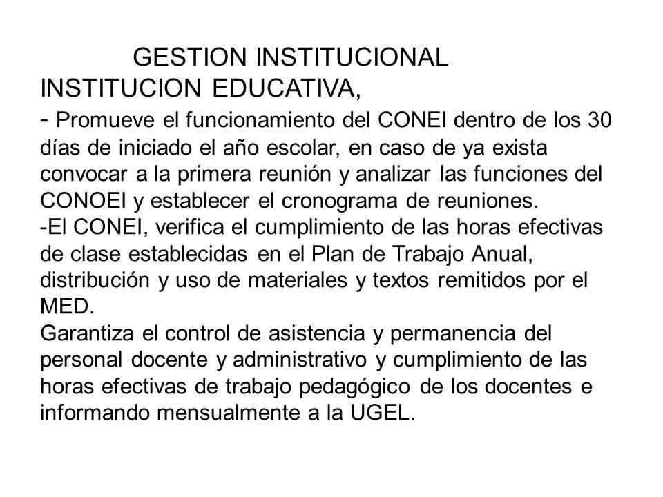 GESTION INSTITUCIONALGESTION INSTITUCIONAL INSTITUCION EDUCATIVA, -Informe a la UGEL sobre las plazas vacantes.