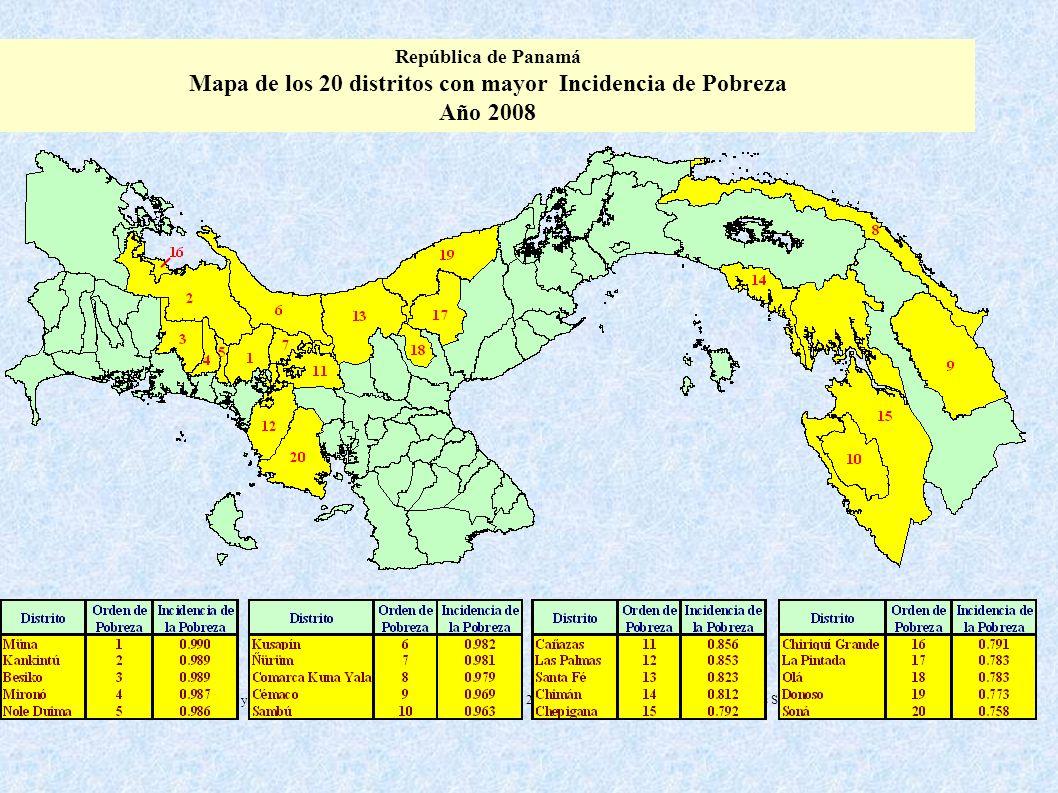 República de Panamá Mapa de los 20 distritos con mayor Incidencia de Pobreza Año 2008 Fuente: Encuesta de Niveles de Vida 2003 y los Censos Nacionales
