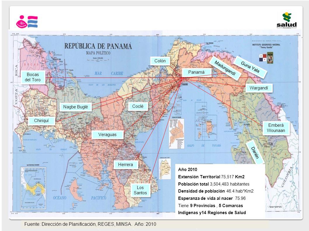Fuente: Dirección de Planificación, REGES, MINSA. Año: 2010 Bocas del Toro Guna Yala Chiriquí Nagbe Buglé Veraguas Coclé Herrera Los Santos Colón Dari