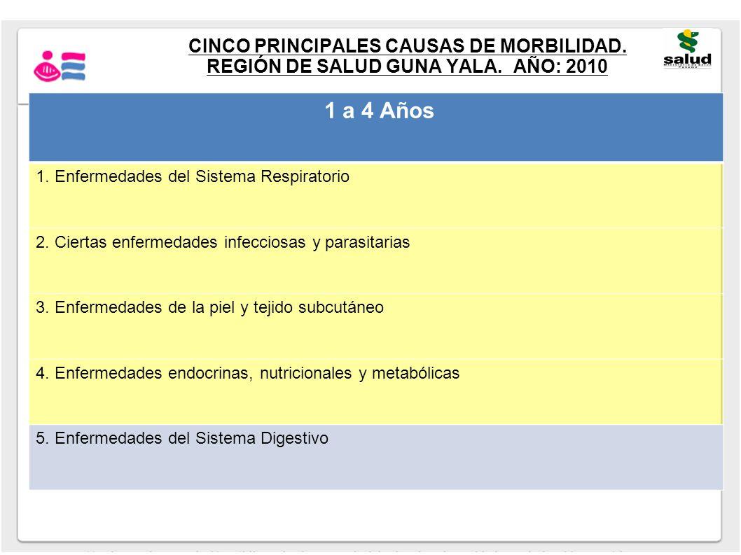 CINCO PRINCIPALES CAUSAS DE MORBILIDAD. REGIÓN DE SALUD GUNA YALA. AÑO: 2010 1 a 4 Años 1. Enfermedades del Sistema Respiratorio 2. Ciertas enfermedad