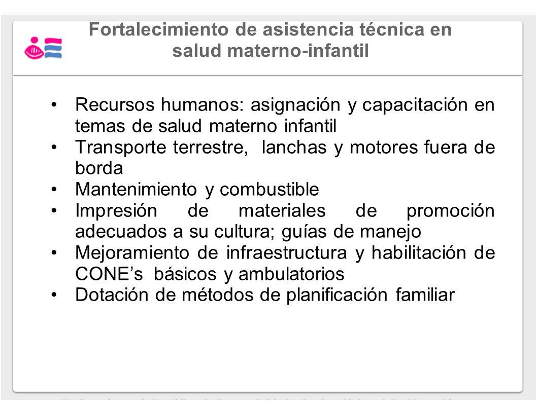 Fortalecimiento de asistencia técnica en salud materno-infantil Recursos humanos: asignación y capacitación en temas de salud materno infantil Transpo