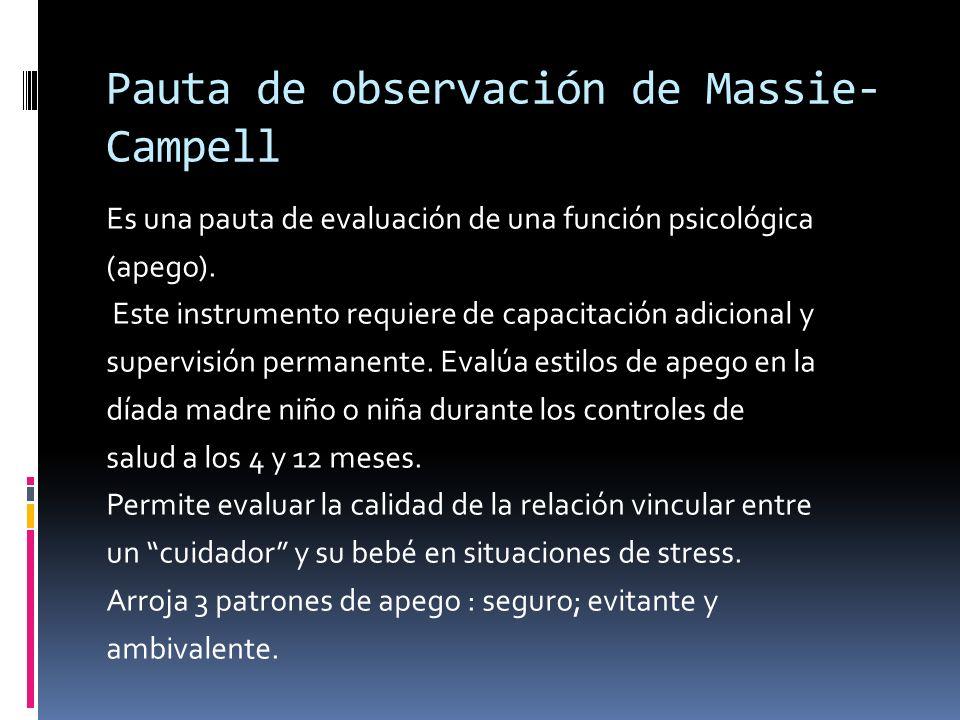 Pauta de observación de Massie- Campell Es una pauta de evaluación de una función psicológica (apego). Este instrumento requiere de capacitación adici