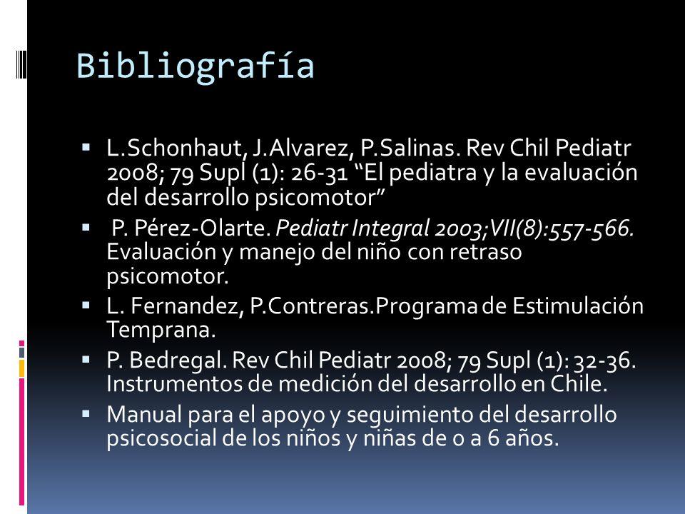 Bibliografía L.Schonhaut, J.Alvarez, P.Salinas. Rev Chil Pediatr 2008; 79 Supl (1): 26-31 El pediatra y la evaluación del desarrollo psicomotor P. Pér