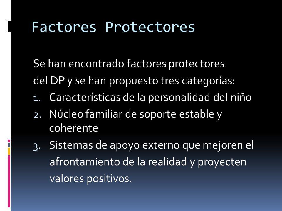 Factores Protectores Se han encontrado factores protectores del DP y se han propuesto tres categorías: 1. Características de la personalidad del niño