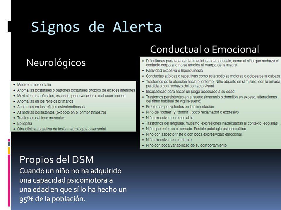 Signos de Alerta Neurológicos Conductual o Emocional Propios del DSM Cuando un niño no ha adquirido una capacidad psicomotora a una edad en que sí lo