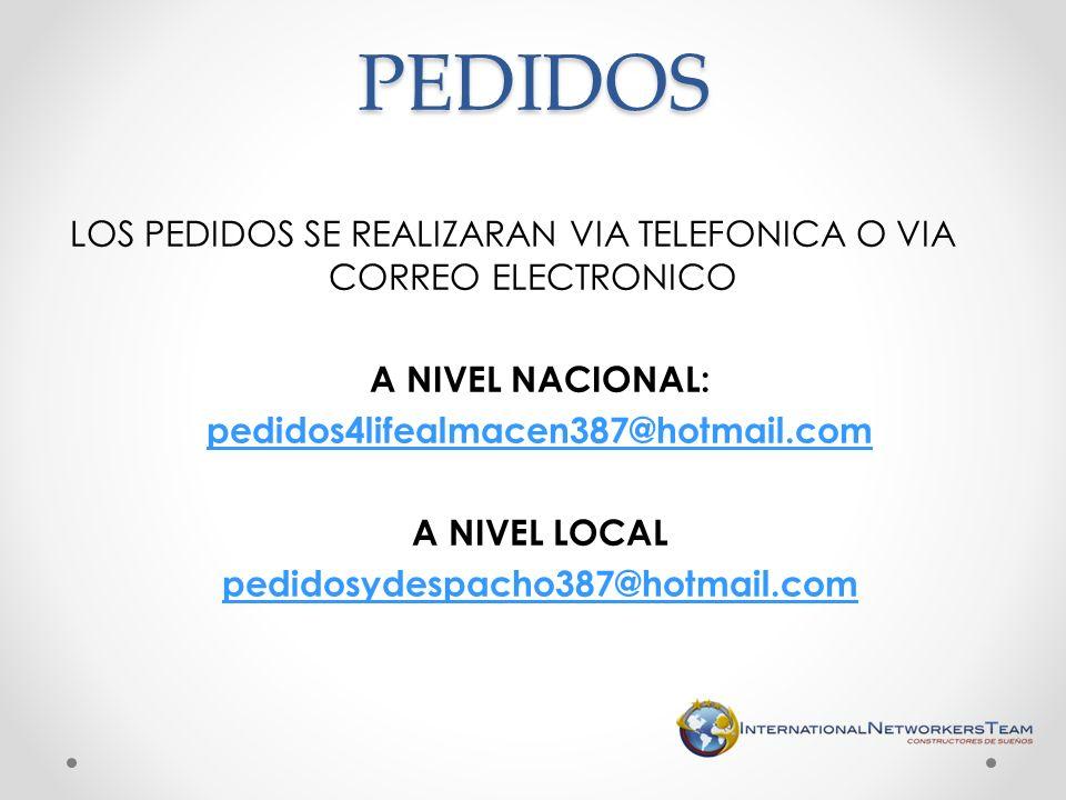 LOS PEDIDOS SE REALIZARAN VIA TELEFONICA O VIA CORREO ELECTRONICO A NIVEL NACIONAL: pedidos4lifealmacen387@hotmail.com A NIVEL LOCAL pedidosydespacho3