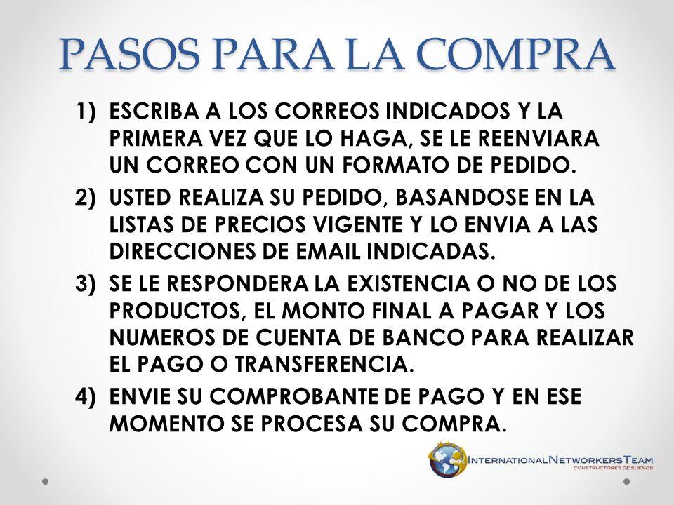 1)ESCRIBA A LOS CORREOS INDICADOS Y LA PRIMERA VEZ QUE LO HAGA, SE LE REENVIARA UN CORREO CON UN FORMATO DE PEDIDO. 2)USTED REALIZA SU PEDIDO, BASANDO