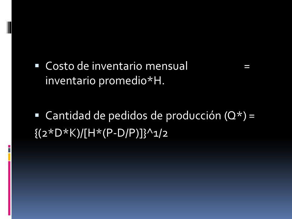 Costo de inventario mensual = inventario promedio*H. Cantidad de pedidos de producción (Q*) = {(2*D*K)/[H*(P-D/P)]}^1/2