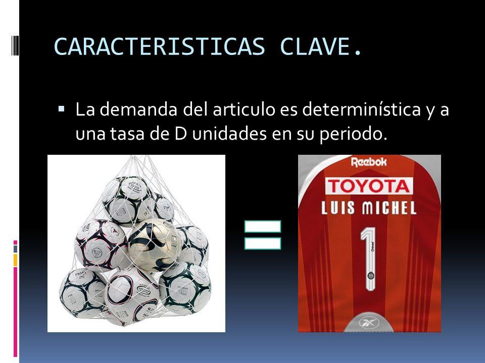 CARACTERISTICAS CLAVE. La demanda del articulo es determinística y a una tasa de D unidades en su periodo.