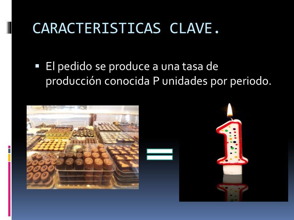 CARACTERISTICAS CLAVE. El pedido se produce a una tasa de producción conocida P unidades por periodo.