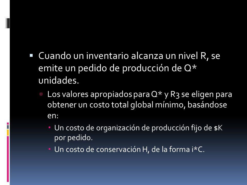 Cuando un inventario alcanza un nivel R, se emite un pedido de producción de Q* unidades. Los valores apropiados para Q* y R3 se eligen para obtener u