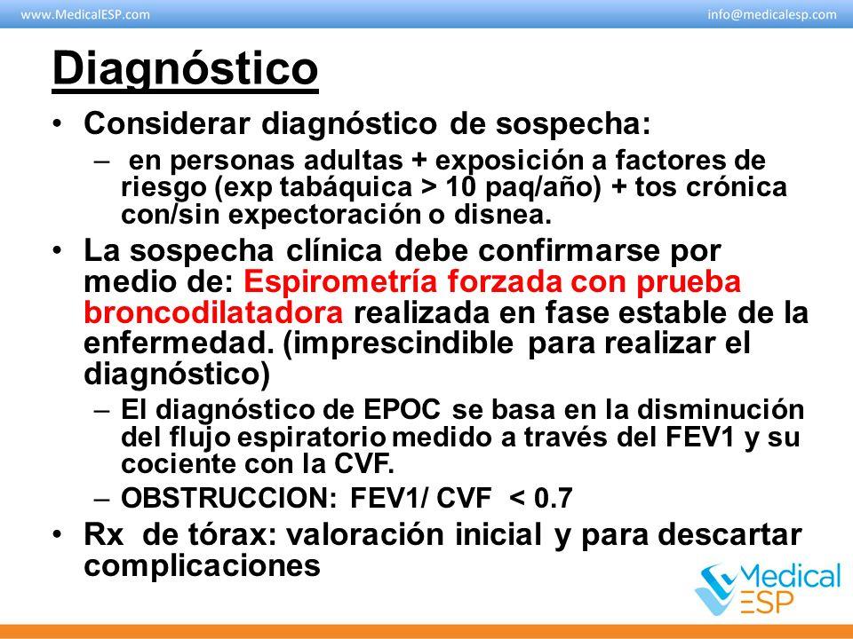Diagnóstico Considerar diagnóstico de sospecha: – en personas adultas + exposición a factores de riesgo (exp tabáquica > 10 paq/año) + tos crónica con