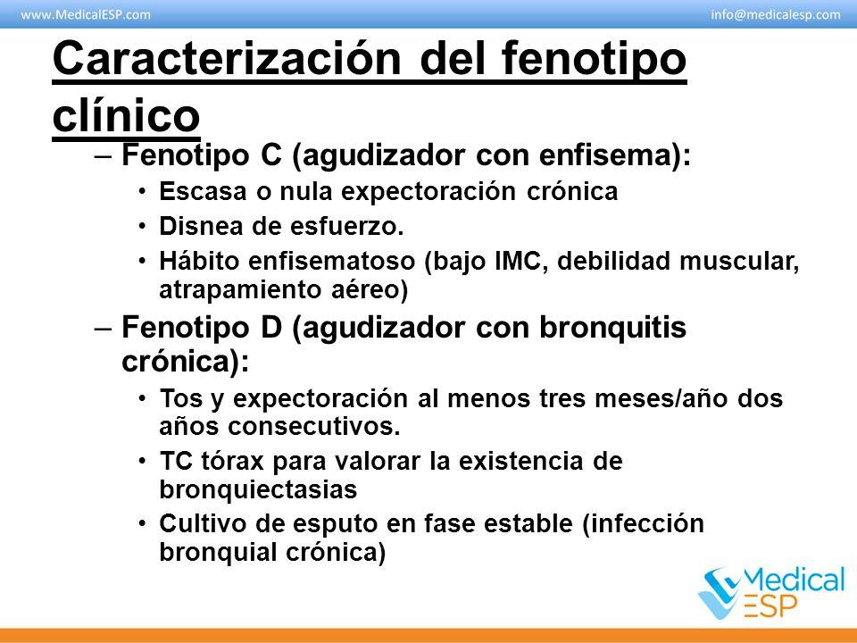 Caracterización del fenotipo clínico –Fenotipo C (agudizador con enfisema): Escasa o nula expectoración crónica Disnea de esfuerzo. Hábito enfisematos