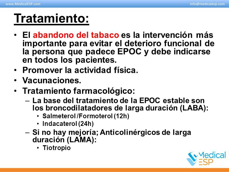 Tratamiento: El abandono del tabaco es la intervención más importante para evitar el deterioro funcional de la persona que padece EPOC y debe indicars